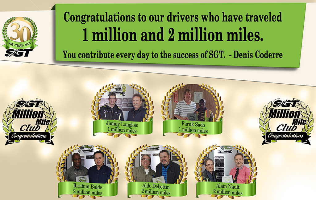 Thank you to our employees who have driven over 1 and 2 milion miles